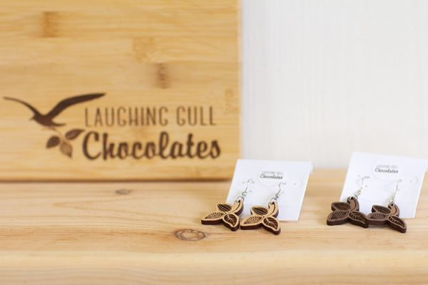 Cacao Pod Earrings, Laughing Gull Chocolates